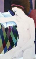 Quadro di  Milani - Nudo con nastro violetto olio tela